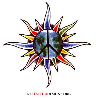 Earth and Peace Symbols Tattoos