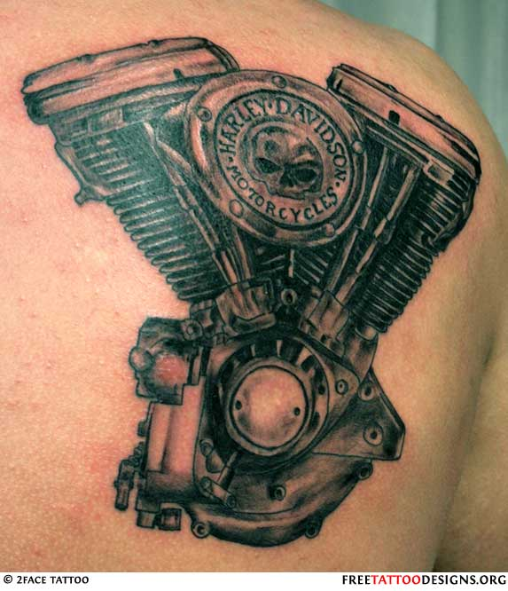 Biker And Harley Davidson Tattoos