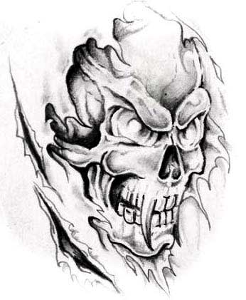 Evil Skull Tattoo Designs