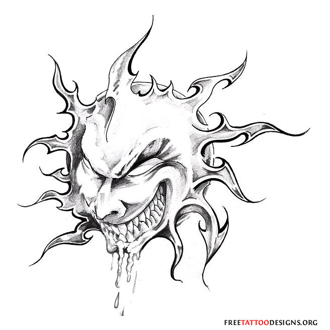 Evil Tattoo Flash Art