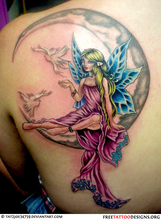 Fairy and Moon Tattoo