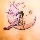 Fairy, moon and stars tattoo