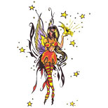 Fairy and stars tattoo design