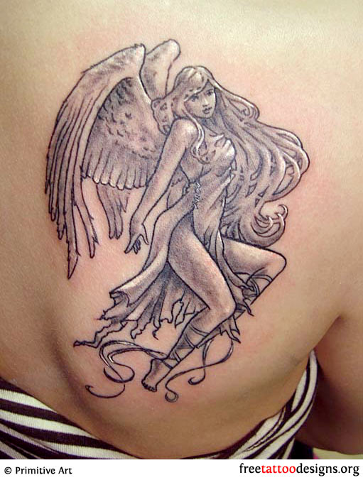 feminine angel tattoo. Black Bedroom Furniture Sets. Home Design Ideas