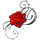 Feminine tribal rose tattoo design
