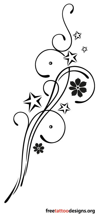 Feminine tattoos tattoo designs for girls and women feminine tribal tattoo design with stars and flowers mightylinksfo