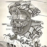 Fighting Samurai Tattoo with Shield