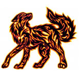 Flaming wolf tribal