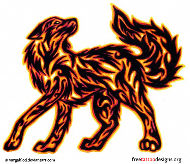 Anime Fire Wolves with Wings