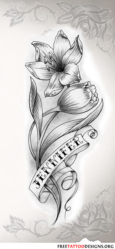 Flower tattoo gallery 70 flower designs flower name tattoo in black and white mightylinksfo