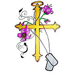 Cross tattoo design with flowers and dog tags