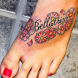 Flowers tattoo on foot