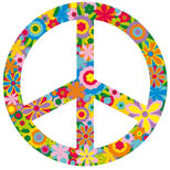 Flowers and peace sign tattoo design