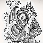 Black and White Geisha Tattoo with Fan and Wave