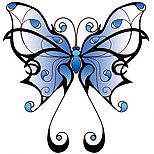 Girly butterfly tattoo (blue)