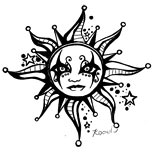 Gothic sun tattoo design