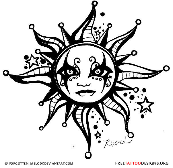 Sun Tattoo Design Gothic