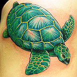 Green turtle tattoo