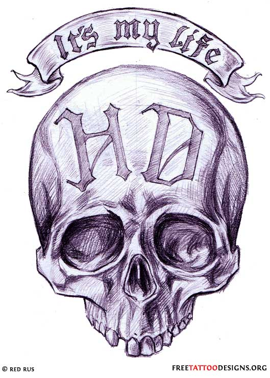Biker and harley davidson tattoos for Harley skull tattoos