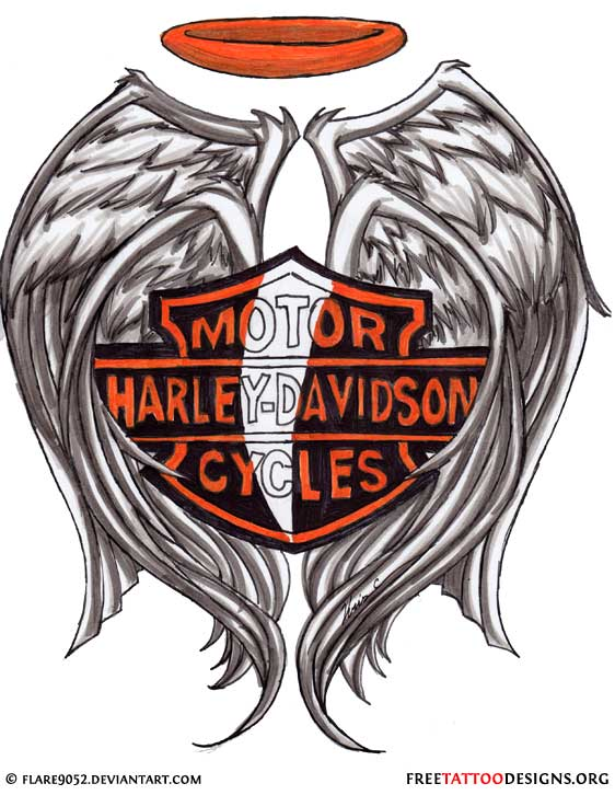 Biker and harley davidson tattoos harley davidson logo tattoo design with wings and halo voltagebd Gallery