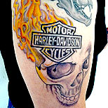 Harley Davidson, skull and flames tattoo