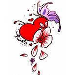 Heart tattoo with butterfly and cherry blossom