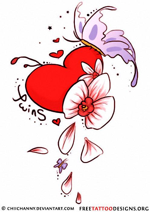 Butterfly Heart Tattoo Designs