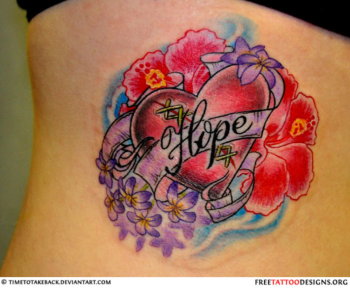 Heart and flowers tattoo