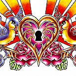 Heart and lock tattoo design with swallows
