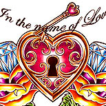 Heart and lock tattoo design with diamonds