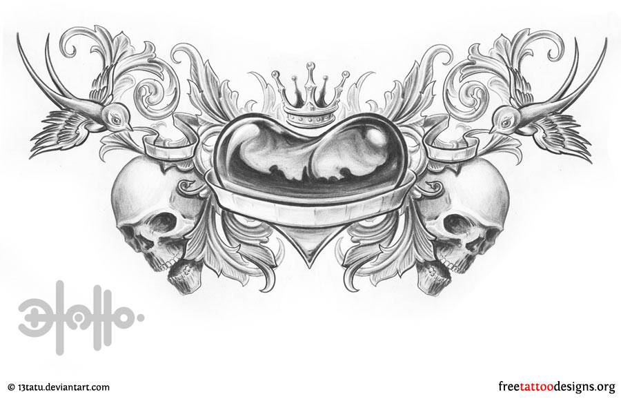 Name With Crown Tattoo Designs Lower back heart tattoo