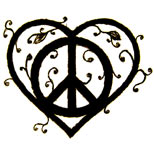 Heart peace tattoo design