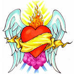 Winged heart and flames tattoo design