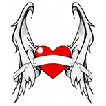Heart tattoo design with wings and banner