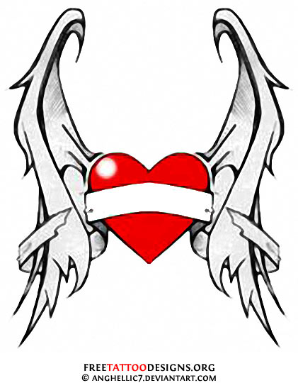 Pictures Of Heart With Banner And Wings Drawing Kidskunst Info