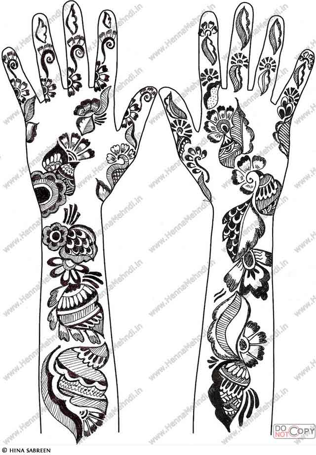 Floral Henna Pattern For The Hands
