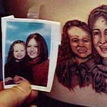 Horrible portrait tattoo of 2 girls