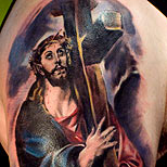 Tattoo of Jesus carrying the cross