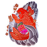 Koi tattoo with cherry blossom and waves
