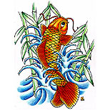 Koi fish tattoo design with bamboo and waves