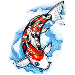 Koi fish and clouds tattoo design