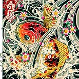 Koi fish tattoo design with water and cherry blossom