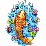 Koi fish tattoo design with water and flowers