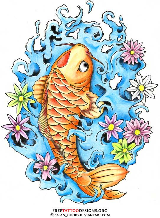 fffbd65c2 Dragon koi tattoo design · Koi fish tattoo design with water and flowers ...