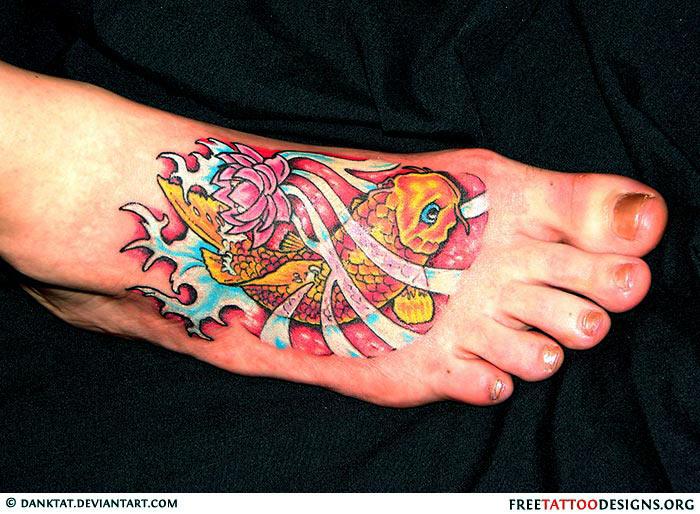 Koi Fish Tattoo On Foot
