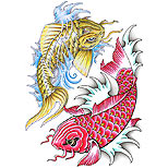 Koi fish tattoo design (red and yellow)
