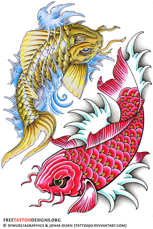 40 koi fish tattoos japanese and chinese designs for Koi fish designs