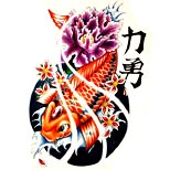 Koi fish tattoo design with water splashes, cherry blossom and a purple flower