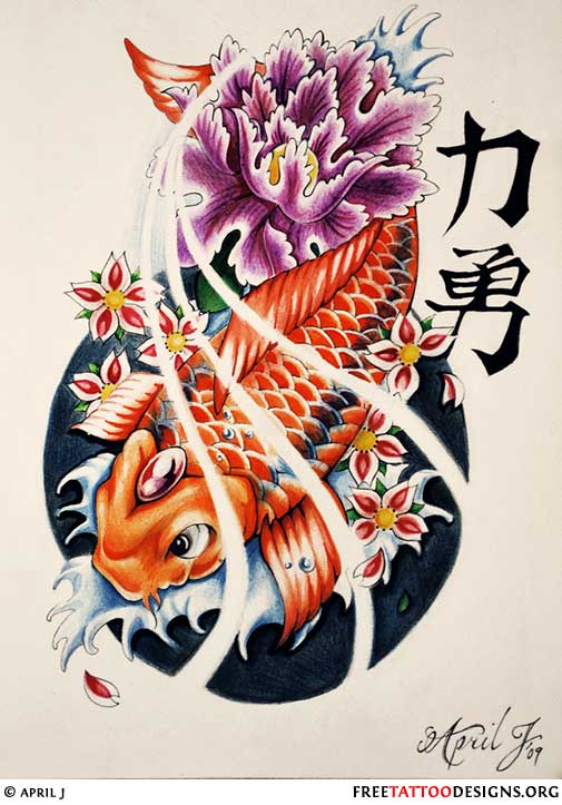 4e4e5d54d852c ... Koi fish tattoo design with water splashes, cherry blossom and a purple  flower ...