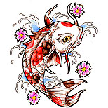 Koi fish tattoo design with splashing water and cherry blossom